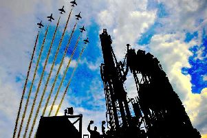 The Red Arrows flying over Sirius Minerals exploration drilling rig at its North Yorkshire polyhalite project