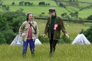 Pulp frontman Jarvis Cocker at the National Trust BE KINDER walking trail preview in Erdale with Turner Prize winning artist Jeremy Deller. 'Picture Jonathan Gawthorpe