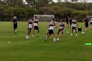 Sheffield United players being put through their paces on Wednesday at training in Portugal