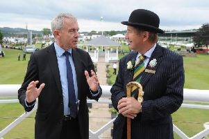 Farming Minister Robert Goodwill chats with show director Charles Mills during his visit to the 161st Great Yorkshire Show in Harrogate. Picture by Tony Johnson.