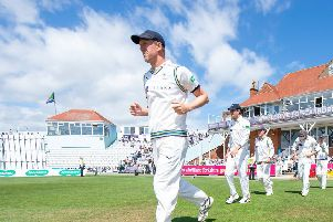 Yorkshire's Steve Patterson leads his side out against Surrey at Scarborough's North Marine Road earlier this month. Picture: Allan McKenzie/SWpix.com