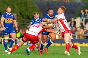 NO WAY THROUGH: Konrad Hurrell is held by Mitch Garbutt and Harvey Livett.' Picture: Bruce Rollinson