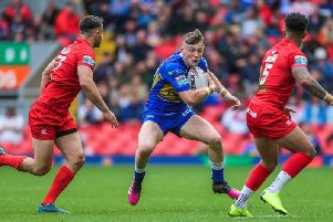 Leeds Rhinos' Harry Newman in action against London Broncos at Magic Weekend (Alex Whitehead/SWpix.com)