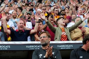 Jurgen Klopp is pictured on the touchline at Bradford City. Picture by Simon Hulme