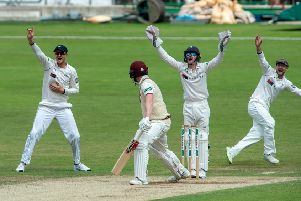 James Hildreth is lbw bowled by Keshav Maharaj.  Picture Bruce Rollinson
