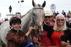 Owners Chris and Joan Brown, with jockey Chris Hayes, after Dream Walker won at Galway in 2016.