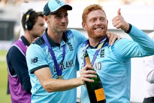 England's Chris Woakes (left) and Jonny Bairstow celebrate winning the ICC World Cup Final at Lord's, London. PRESS ASSOCIATION Photo. Picture date: Sunday July 14, 2019. See PA story CRICKET England. Photo credit should read: John Walton/PA Wire.
