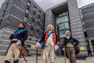 Royal Armouries Interpreters Andy Hodges as the Prince Regent, Chris Bailey as George III and Tristan Langlois as the Earl of Chatham. Picture by James Hardisty.