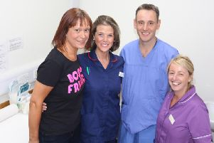 Boosting care for women who have battled breast care through new support for nipple tattoos - pictured Julia Sunderland from Bosom Friends, breast care nurse specialist Charlotte Ward, consultant surgeon Andy Williams, plastic surgery trauma sister, Tammy Bingham