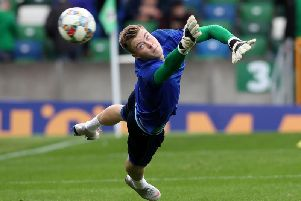 Leeds United's Bailey Peacock-Farrell in action for Northern Ireland.