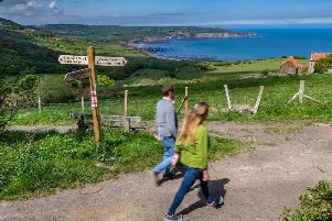 A couple out walking in Ravenscar, near between Whitby and Scarborough. Picture: James Hardisty.