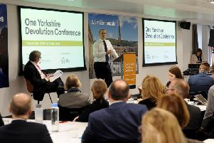 Northern Powerhouse minister Jake Berry addresses a One Yorkshire Devolution conference in Leeds earlier this year. Picture by Simon Hulme