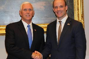 Foreign Secretary Dominic Raab with US Vice President Mike Pence.