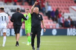 Saluting the fans: Sheffield United manager Chris Wilder gestures to the crowd after the Premier League opener. Picture: James Wilson/Sportimage
