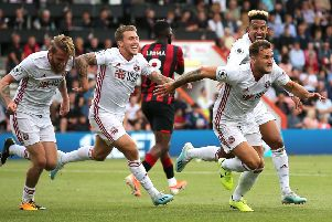 Sheffield United's Billy Sharp (right) celebrates scoring his side's equaliser at Bournemouth (Picture: Mark Kerton/PA)