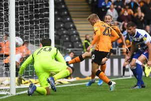 BRINGING DOWN THE ROYALS: Highly-coveted winger Jarrod Bowen taps in to give Hull City an early lead during their 2-1 triumph over Reading. He went on to set up a second for Jackson Irvine. (Picture: Jonathan Gawthorpe)