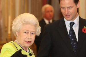 The Queen, pictured with former Deputy Prime Minister Nick Clegg, has reportedly expressed her disappointment with current politicians. Picture: PA