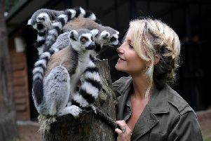 TV presenter Helen Skelton meets the Lemurs during filming for Big Week at the Zoo, at Yorkshire Wildlife Park near Doncaster. Picture by Simon Hulme.