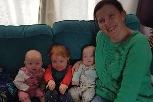 Catherine Stevens with her family.