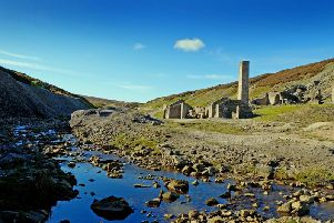 The ruins of the smelting mill at Old Gang lead mine