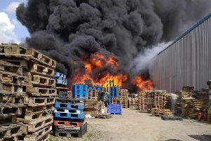 Fire at industrial site near Grimsby. Picture: Humberside Fire & Rescue
