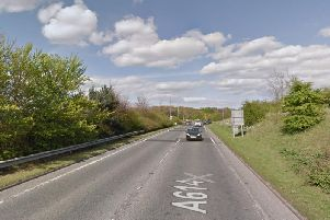 The A614 near Driffield, close to where a fatal motorbike accident occurred on Sunday