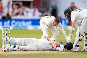 Australia's Steve Smith after being felled by a Joffra Archer bouncer at Lord's. Photo: Mike Egerton/PA Wire