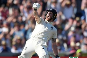 Ben Stokes of England celebrates hitting the winning runs (Picture: Gareth Copley/Getty Images)