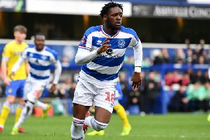 New Bradford City man Aramide Oteh celebrates after scoring from the penalty spot for his parent club QPR in an FA Cup clash with Leeds United. Picture: Getty Images