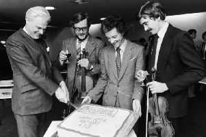 John Pryce-Jones (pictured second from right) as Opera North's orchestra celebrated its fifth birthday.