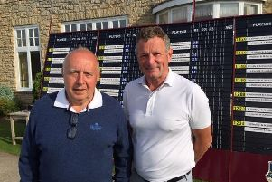 Branston Golf & Country Club pairing Peter Fisher, left, and Tom Kirkpatrick, winners on day one of the Yorkshire Challenge at Lindrick.