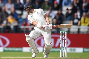 Rory Burns avoids a short ball from Mitchell Starc at Old Trafford. Picture: Gareth Copley/Getty Images)