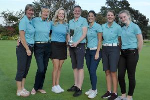 New YLCGA Division One Scratch Team champion Woodsome Hall, l-r, Anne Taylor, Pamela Blake, Molly Lumley, Emma Taylor, Melissa Wood, Lily Hirst, and Beth Prince.