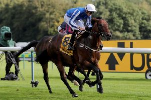 Hello Youmzain and James Doyle (near side) get the better of The Tin Man (far side) in Haydock's Sprint Cup.