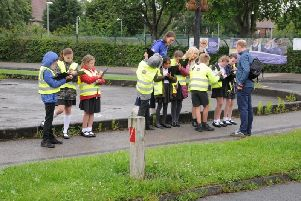 Children surveyed the area around the school to find out how streets could be safer and more attractive for walking & cycling. Photo: Steve Tipton/Sustrans
