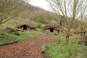 The three replica Iron Age longhouses at the Herd Farm outdoor activity centre near Leeds will be used as a film set