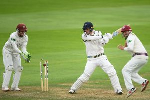 Steve Patterson of Yorkshire is bowled by Roelof Van Der Merwe.  (Photo by Alex Davidson/Getty Images)