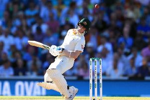 England's Steve Smith avoids the ball. Picture: Mike Egerton/PA