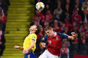 Norway's midfielder Markus Henriksen, in action against Sweden, has been frozen out of the Hull City squad. (Picture: JONATHAN NACKSTRAND/AFP/Getty Images)