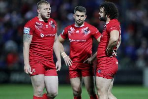London Broncos' Elliot Kear, Rhys Williams and Jordan Abdull look dejected during the defeat to Wakefield which saw them relegated (Picture: SWPix.com)