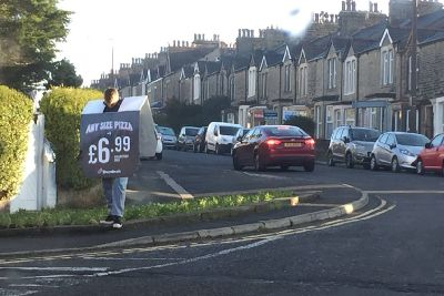 Lancaster And Morecambe Dominos Pizza Human Ad Boards Cause