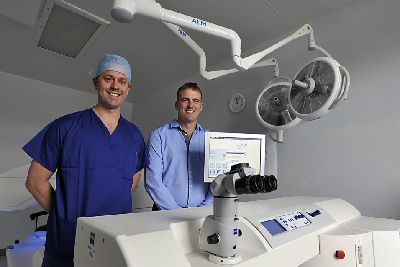 5e7633a7772 Consultant opthalmic surgeon James Ball with patient (right) Sam Allen