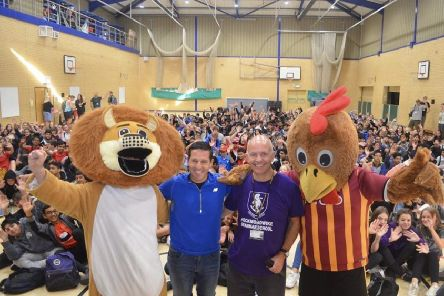 STEPPED UP: 1,200 grammar school pupils supported Andy Bean's challenge.