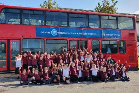 Sheltered space: The double decker bus will become a community area for pupils and parents.