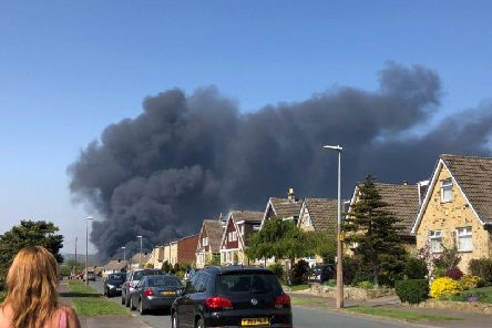 Thick black smoke rising from the fire at Cooper Bridge (Photo: @james_h00I)