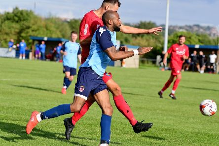 Liversedge's Emile Sinclair challenges for possession with a Stockton defender during Saturday's FA Cup tie. Picture: Paul Butterfield