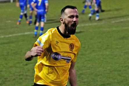 Alex Peterson celebrates his late equaliser for Belper Town in the 2-2 home draw to Spalding United. Pic by Tim Harrison.