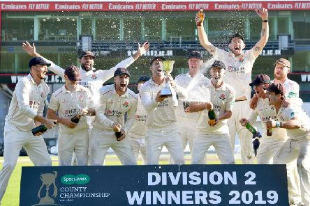 Unbeaten Lancashire lift the County Championship Division Two trophy after victory over Middlesex Picture: PRESS ASSOCIATION