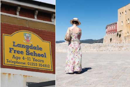 The Langdale Free School, left, and Ibiza, right, where its trustees flew for a board meeting