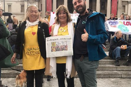 Friends of the Earths Jamie Peters with Tina Rothery, left and Julie Daniels from teh Lancashire Nanas